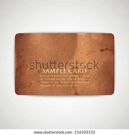 vintage card with grunge cardboard texture - stock vector