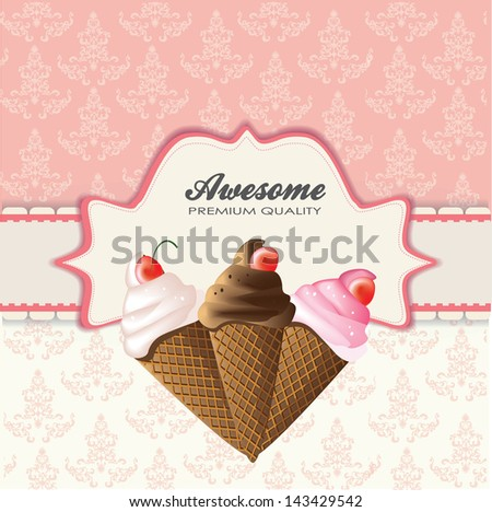 vintage card with ice cream - stock vector