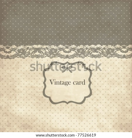 Vintage card with lace - stock vector