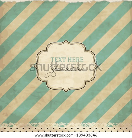Vintage card with lace and frame, scrap template - stock vector