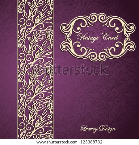 Vintage card with lace border and frame on seamless floral abstract background - stock vector