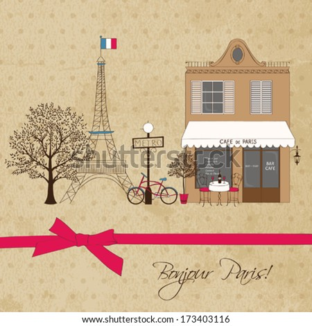 Vintage Card with Paris cityscape - stock vector