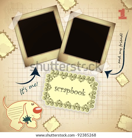 Vintage card with photo frame and  place for text - scrapbook style - vector illustration