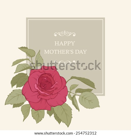 Vintage Card with Roses. Vector Design Element. Flora background. Card for mothers day. - stock vector