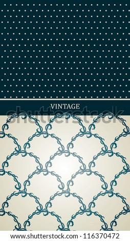 Vintage card with seamless elegant blue tiled pattern, Stylish vintage frame - stock vector