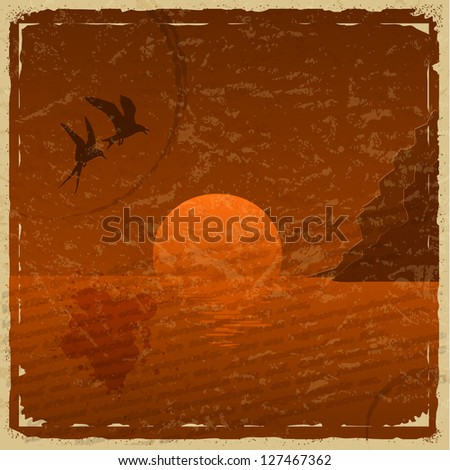 Vintage card with sunset and seagulls - stock vector