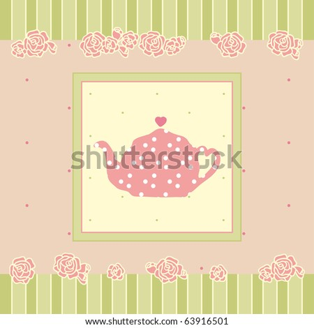 vintage card with teapot - stock vector