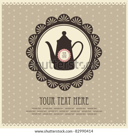 vintage card with teapot. vector illustration - stock vector