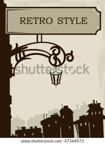 Vintage card with the old town - stock vector