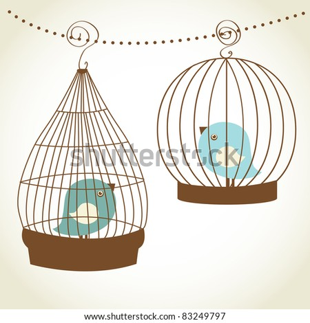 Vintage  card with two cute birds in retro cages - stock vector