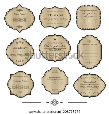 Vintage cardboard frame and label set with sample text. Calligraphic design elements. Vector illustration. - stock vector