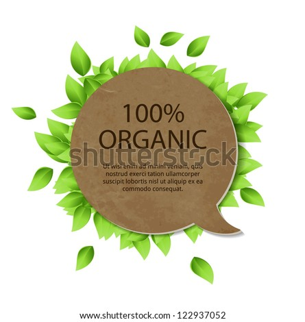 Vintage cardboard paper vector banner with fresh green leaves - stock vector