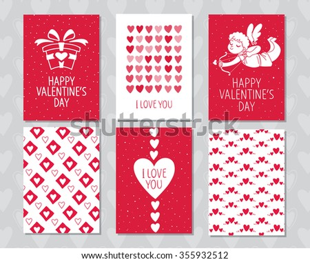 Vintage cards set valentines day invitation stock vector for Valentines day card design