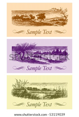 vintage cards set, vector - stock vector