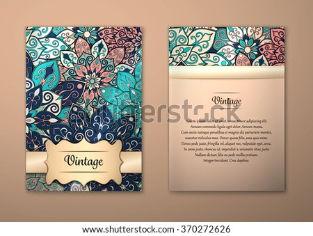 Vintage cards with Floral mandala pattern and ornaments. Vector Flyer oriental design Layout template, size A5. Islam, Arabic, Indian, ottoman motifs. Front page and back page. Easy to use and edit. - stock vector