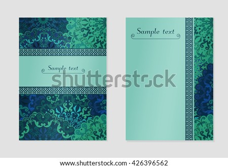 Vintage cards with Floral mandala pattern and ornaments. Vector Flyer oriental design Layout template. Islam, Arabic, Indian, Mexican ottoman motifs. Front page and back page. Easy to use and edit. - stock vector
