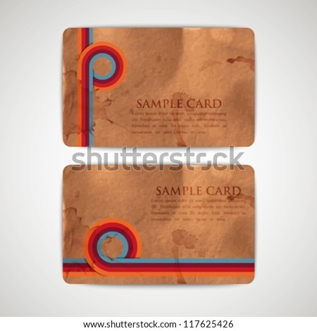 vintage cards with grunge cardboard texture - stock vector