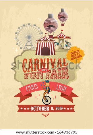 Vintage Carnival Fun Fair Fairground Circus Poster Template Vector Illustration