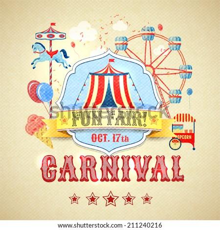 Vintage carnival fun fair theme park advertising poster vector illustration - stock vector