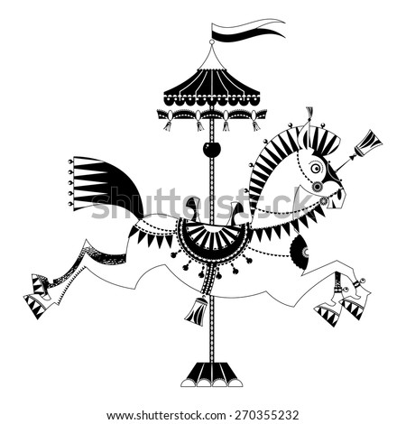 Vintage carousel horse. Black and white. Vector illustration