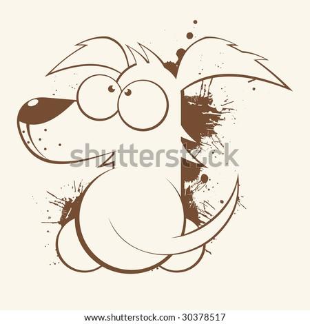 vintage cartoon dog - stock vector
