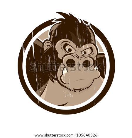 vintage cartoon gorilla in a badge - stock vector