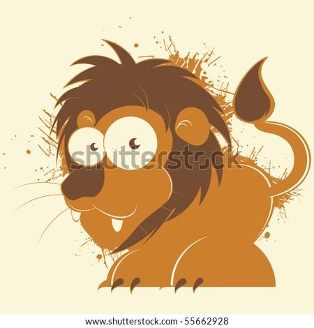 vintage cartoon lion - stock vector