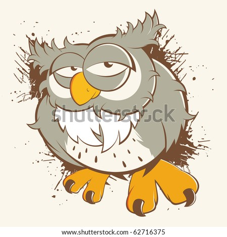 vintage cartoon owl - stock vector