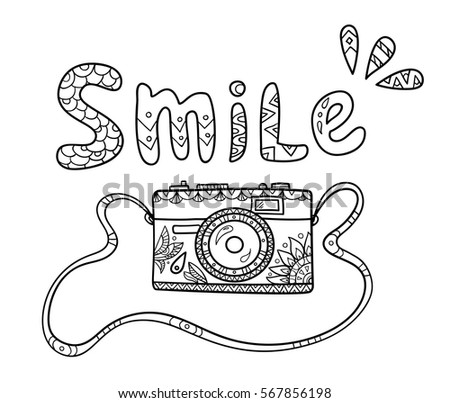 Vintage Cartoon Photo Camera On The Strap With Ornate Pattern And Smile Text For Adult Coloring