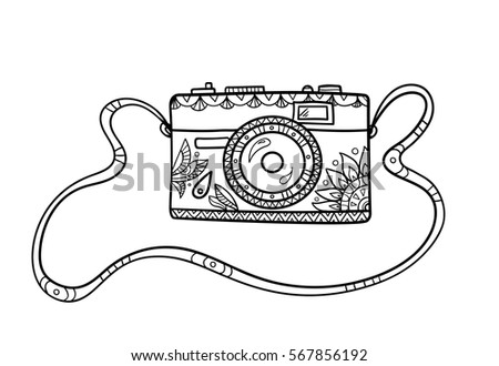 Vintage Cartoon Photo Camera On The Strap With Ornate Pattern For Adult Coloring Book