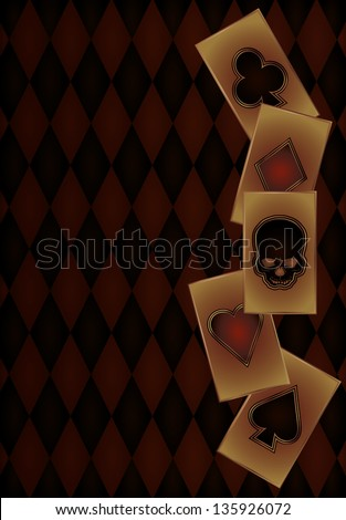 Vintage Casino banner with poker cards, vector illustration - stock vector