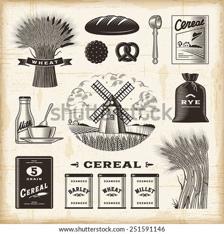 Vintage cereal set. Fully editable EPS10 vector.