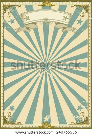 vintage certificate blue background. A vintage poster with sunbeams for your advertising.  - stock vector
