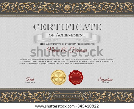 Vintage Certificate of Achievement. Gray and Gold Ornaments