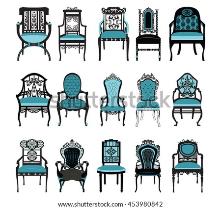 Vintage Chair Furniture Set Collection Vector Rich Carved Ornaments Victorian Style