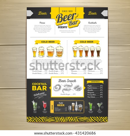 Vintage Beer Menu Design Stock Vector   Shutterstock