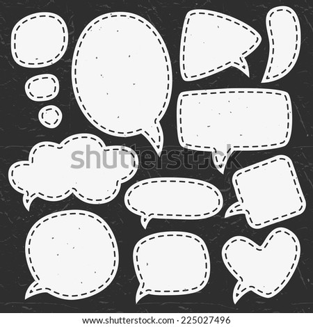 Vintage chalk speech bubbles. Different sizes and forms. Hand drawn vector illustration. - stock vector