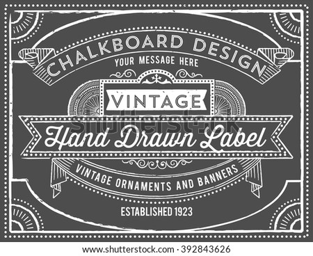 Vintage Chalkboard Background  - Vintage chalkboard background with retro elements.  Each object is grouped and colors are global for easy editing.  Texture can be removed. - stock vector