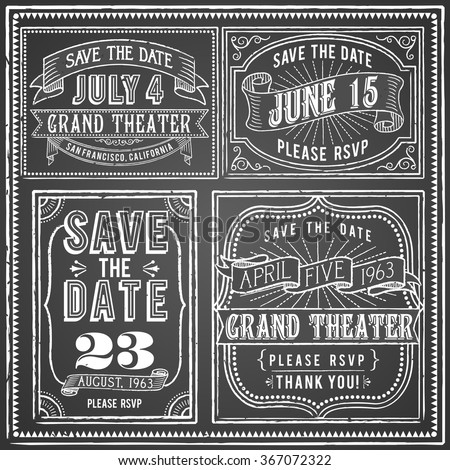 Vintage Chalkboard Backgrounds - Set of 4 Vintage chalkboard backgrounds with retro elements. Each object is grouped and colors are global for easy editing. - stock vector