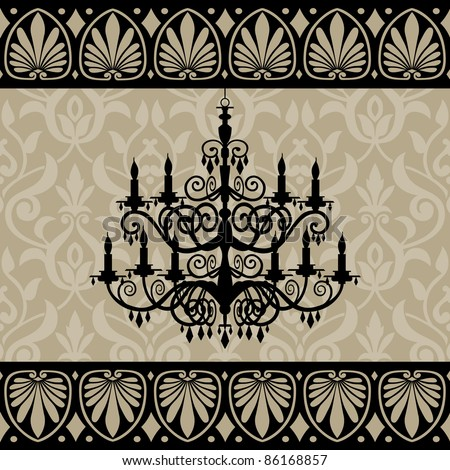 Vintage chandelier silhouette and antique border on background
