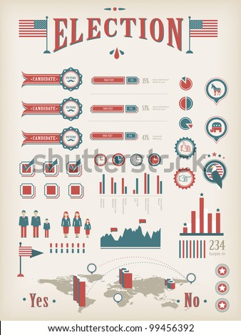 Vintage charts (info-graphic, icons) for election report - stock vector