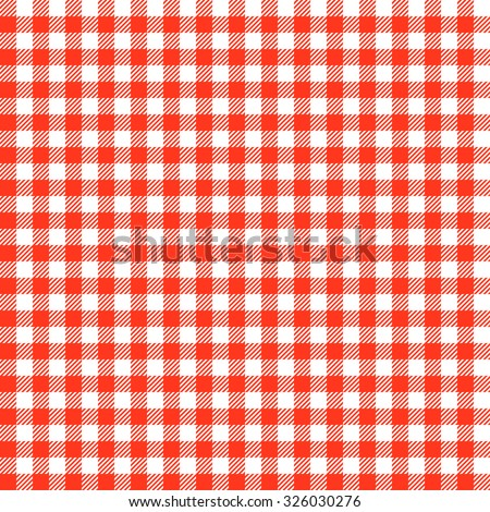 vintage checkered table cloth background colored red - stock vector