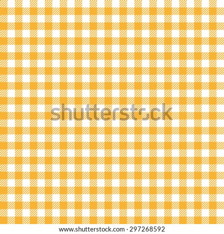 vintage checkered table cloth background colored yellow - stock vector