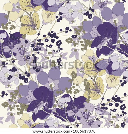 Vintage Cherry Blossom Seamless Vector Pattern