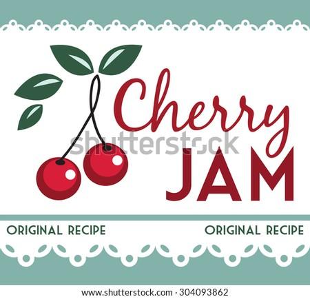 vintage cherry jam card - stock vector