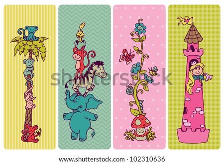 Vintage Children Banner Set -for birthday, invitation, baby shower - in vector - stock vector