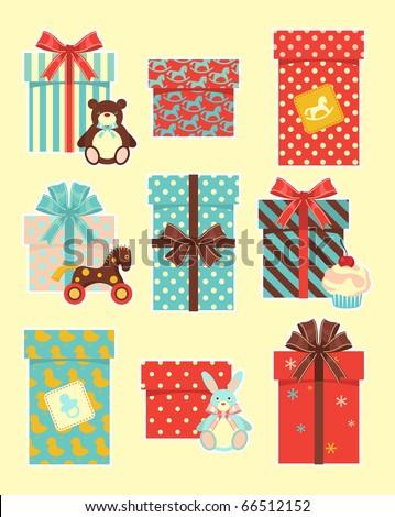 Vintage children`s gifts - stock vector