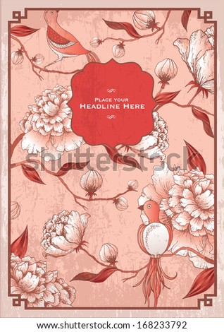 vintage chinese peony flower background template vector/illustration - stock vector