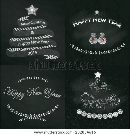 vintage christmas and happy new year set for greeting card on chalkboard textured background, vector illustration.