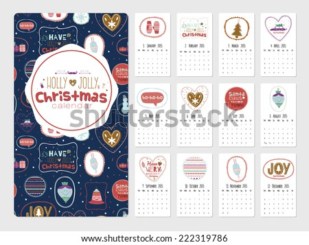 Vintage Christmas and New Year calendar with greeting stickers of cute winter elements, icons, typography, greeting and wishes. Have a very merry Christmas. Good for winter design cards or posters. - stock vector
